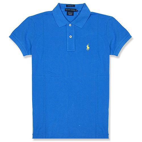 Ralph Lauren 經典LOGO 寬版POLO女衫(蔚藍)
