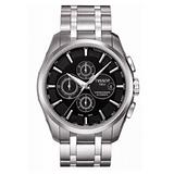 TISSOT PRC 100大徑面自動計時腕錶/黑/鋼帶43mm