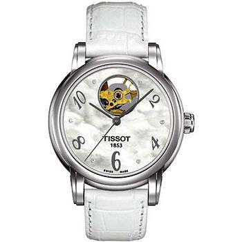 TISSOT 心媛系列鏤空機械錶(珍珠貝白)~公司貨 T0502071611600