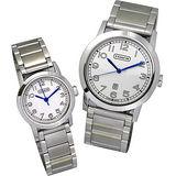 COACH Bleeker 簡潔品味數字鍊對錶(白)