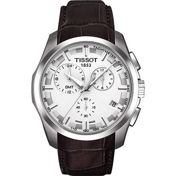 TISSOT Couturier GMT建構師系列三眼計時腕錶(咖啡帶) T0354391603100