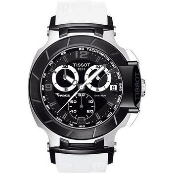 TISSOT T-RACE 急炫賽車三眼計時機械錶(白) T0484172705705