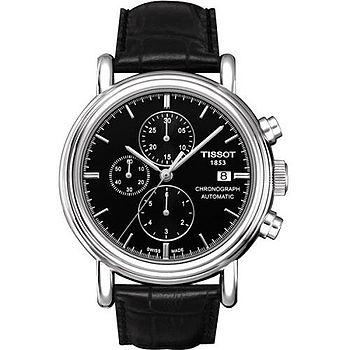 TISSOT T-CARSON 典藏永久三眼計時機械男錶(黑) T0684271605100