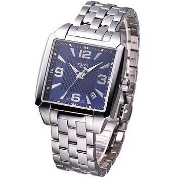 TISSOT Quadrato 幾何系列鋼帶石英腕錶(藍) T0055101104700