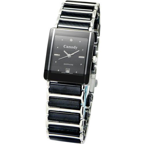 Canody 珍愛時光陶瓷腕錶(黑-大) CM8808-A