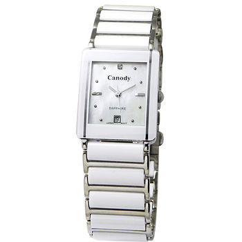 Canody 珍愛時光陶瓷腕錶(白-大) CM8808-B