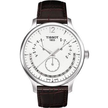 TISSOT Tradition 逆跳星期萬年曆石英腕錶(白-42mm) T0636371603700