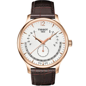 TISSOT Tradition 逆跳星期萬年曆石英腕錶(金框-42mm) T0636373603700