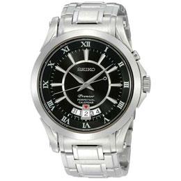 SEIKO 知性品味萬年曆腕錶(黑) 6A32-00R0D
