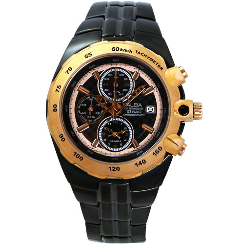 ALBA 索愛情人三眼計時腕錶(IP黑/玫瑰金框) YM62-X143U