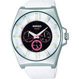 WIRED Solar 新世紀太陽能三環計時腕錶(白皮) V14J-X005Z