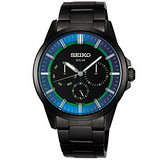 SEIKO Spirit 太陽能時尚科技三眼腕錶錶~公司貨(IP黑) V14J-0AX0B