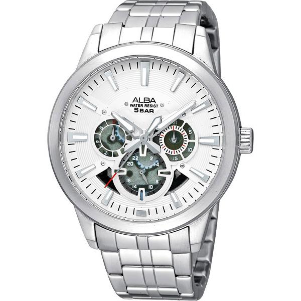 ALBA 立體美感全日曆時尚腕錶(銀) V33J-X057S