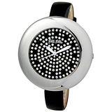 Folli Follie 優美曲線晶鑽時尚腕錶(銀/黑-中) WF0T006SSZ