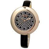 Folli Follie 優美曲線晶鑽時尚腕錶(金/黑-中) WF0R006SSZ