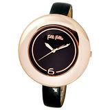 Folli Follie 優美曲線晶鑽時尚腕錶(金/黑-大) WF0R007SSZ