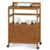 日式量販-鄉村風實木兩層雙門餐儲收納櫃