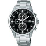 SEIKO SPIRIT 太陽能三眼鬧鈴計時腕錶(黑面-V172-0AA0D)