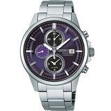 SEIKO SPIRIT 太陽能三眼鬧鈴計時腕錶(紫-V172-0AA0P)