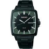SEIKO SPIRIT 太陽能復古時尚紳士錶(IP黑-V158-0AF0SD)