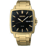 SEIKO SPIRIT 太陽能復古時尚紳士錶(黑+金-V158-0AF0K)
