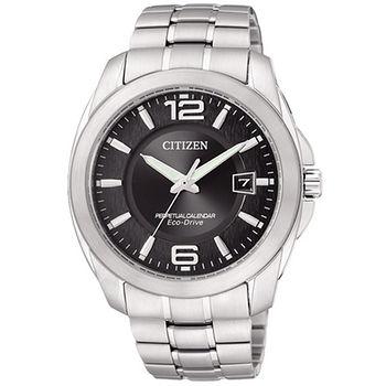 CITIZEN Eco-Drive 流光年代萬年曆腕錶(黑面-BL1240-59E)