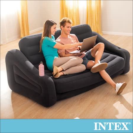 【INTEX】二合一雙人超大充氣沙發床(黑色) 2016年新款