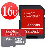 SanDisk 16GB Class10 Ultra microSDHC 高速記憶卡-附SD轉接卡