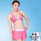 【TRAVELFOX 旅狐】甜美粉色比基尼三件式泳衣C12706