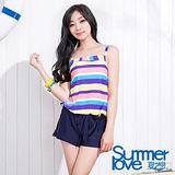 【SUMMERLOVE 夏之戀】夏日條紋連身褲二件式泳衣S15750