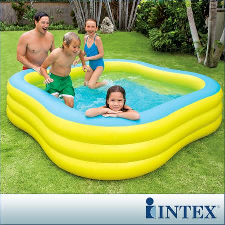 【INTEX】方型黃色大型戲水游泳池(1215L)