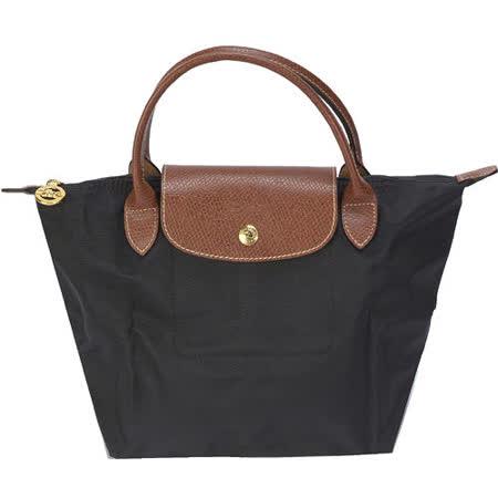 Longchamp 短提把小型水餃包-黑色