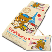 【享夢城堡】混紡棉單用4X5兒童睡袋--Rilakkuma拉拉熊 巴黎生活-米黃