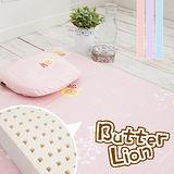 【奶油獅】正版授權100%精梳純棉馬來西亞乳膠嬰兒床墊(小)+塑形圓枕2件組-三色可選