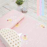 【奶油獅】正版授權100%精梳純棉~馬來西亞乳膠嬰兒床墊(大)+工學枕2件組-三色可選