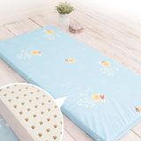 水藍【奶油獅】100%精梳純棉布套+馬來西亞進口純天然乳膠嬰兒床墊(小60*120cm)