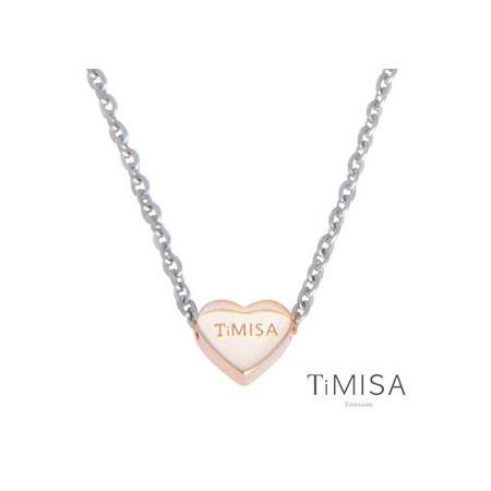 【TiMISA】幸運心M(雙色可選) 純鈦項鍊(E)