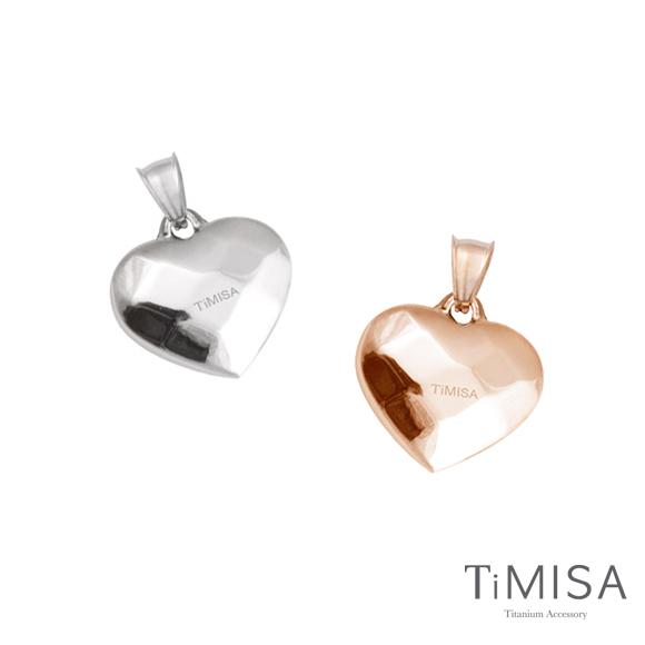 【TiMISA】菱格愛心(S) 純鈦墜飾 (雙色可選)