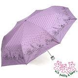 三隻小熊 卡通點點銀膠防風三折傘 (粉紫)