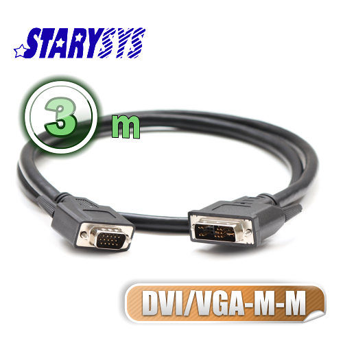曜兆STARY高級線材DVI轉VGA**3公尺圓線(公-公)