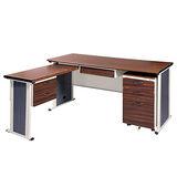 BYS胡桃木紋L型辦公桌櫃組246-4(100x150)