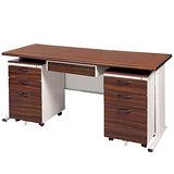 BYS胡桃木紋辦公桌櫃組246-6(150)