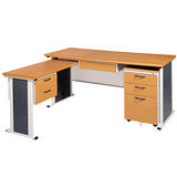 SYS木紋L型辦公桌櫃組247-9(100x150)