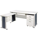 YS淺灰色L型辦公桌櫃組248-1(100x150)