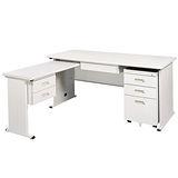 THA淺灰色L型辦公桌櫃組249-1(100x150)