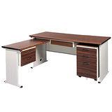 BTHA胡桃木紋L型辦公桌櫃組250-7(100x150)