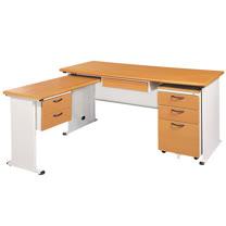 STHA木紋L型辦公桌櫃組251-1(100x150)