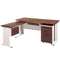 BTH胡桃木紋L型辦公桌櫃組253-7(100x150)