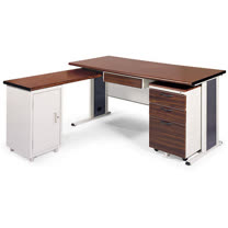 BCS胡桃木紋L型辦公桌櫃組254-6(100x150)