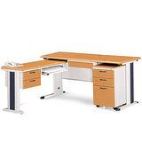 SKH木紋L型辦公桌櫃組258-12(100x150)